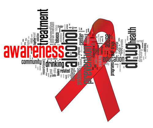 Substance abuse awareness ribbon with related keywords